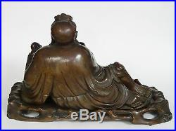 ANTIQUE c. 1830 FINE CARVED WOOD CHINESE DEITY IMMORTAL SCULPTURE with STAND 11