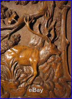 A Black Forest Very Fine Carved Fruitwood Relief Carving circa 1900