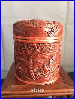 A Chinese Fine Carved Cinnabar Lacquer Tea Candy