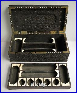 A FINELY CARVED 19th CENTURY ANGLO-INDIAN PEN/SCRIBE BOX, SUPERIOR DETAILED WORK