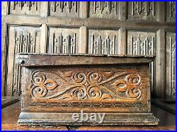 A Fine 17th Century Carved Oak And Inlaid Bible Box