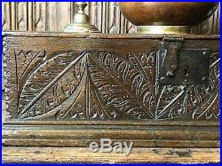 A Fine 17th Century Carved Oak Bible Box Illustrated in A Discourse On Boxes