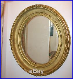 A Fine 18th Century Italian Hand Carved Wooden Oval Mirror MAGNIFICENT