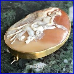 A Fine Antique 19th Century Carved Shell Cameo Brooch, Mazeppa And The Wolves