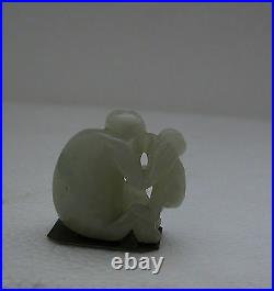 A Fine Antique 19th Century Carved White Jade Showing 2 Monkeys