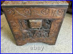 A Fine Antique Carved Camphor Chinese Chest On Bracket Feet 105 x 52 x 58 cms