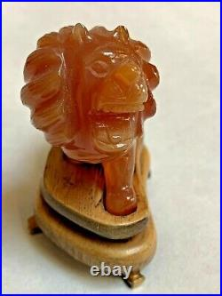 A Fine Antique Chinese Carved Carnelian Agate Pekingese Foo Lion Dog w Stand