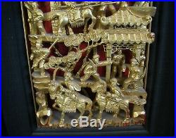 A Fine Antique Chinese Gold Plated Wood Carving Showing Scenes