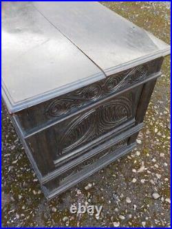 A Fine Antique Country Carved Oak Coffer Blanket Box
