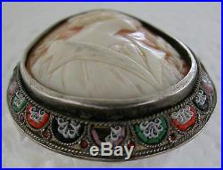 A Fine Antique Lovely Hand Carved Italian Shell Cameo &silver Micro Mosaic Frame