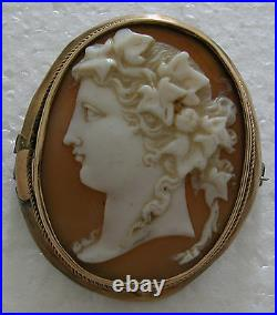 A Fine Antique Lovely High Relief Hand Carved On Shell Cameo Gold Frame Brooch
