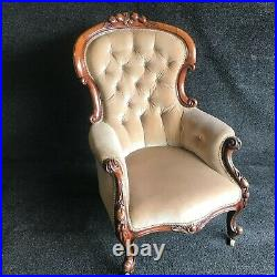 A Fine Beautiful Carved Walnut Buttoned Back Arm Chair