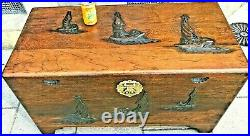 A Fine Camphor Box With Raised Carvings of Junks