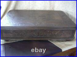 A Fine Large Antique Carved Oak Cutlery Box Chest With Mirror