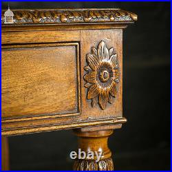 A Fine Late 19th C Sheraton Style Writing Table with Carved Prince of Wales Feat