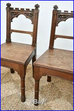 A Fine Pair of 19th C Victorian Carved Oak Gothic Hall Side Table Bedroom Chairs