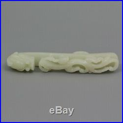 A Fine Quality Chinese Antique Carved Jediate Jade Serpent / Dragon Belt Hook