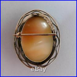 A Fine Victorian Antique 9ct Rose Gold Carved Shell Cameo Brooch Circa 1890