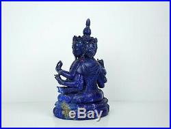A Finely Carved Lapis Lazuli Figure of Mahamayuri with Fitted Wooden Stand