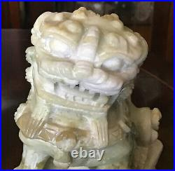 A Finely Carved Pair Of Chinese Antique Jade Foo Dogs. 4.25 X 2.75 X 2.25