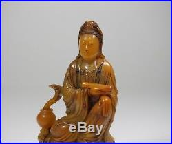A Finely Carved Soapstone figure of Guanyin with Hardstone inlaid
