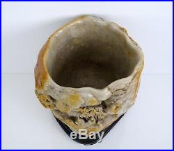A Magnificent and Finely Carved Soapstone'Scholars' Brushpot with Wooden Stand