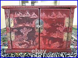A Rare And Fine Carved Cinnabar Lacquer'scholar' Table Chest, Qing 19th