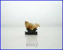 A Small Jade Carving of Carp with a Finely Carved Wooden Stand