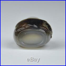 A Very Fine Chinese 20th Century Carved Agate Snuff Bottle With Panda