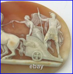 A very fine antique carved shell Angel of Peace Cameo 4 horse Chariot C. 19th