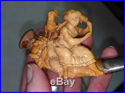 Amazing Antique Meerschaum Pipe Girl Woman With Sheep Ram Flowers Finely Carved
