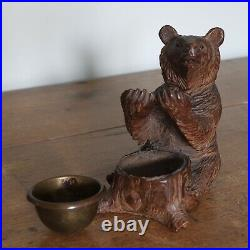 An Antique Finely Carved Black Forest Bear With Bead Eyes, c. 1900