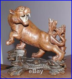 An Exceptionally Fine Antique Chinese Boxwood Wood Carving Figure of a Tiger