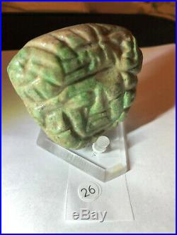 Ancient Pre Columbian Mayan Fine Jade Carved Pectoral 2.7 x 2.5 Authentic