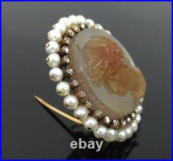 Antique 0.35ct Rose Cut Diamond & Natural Pearl Hand Carved Cameo Gold Pin