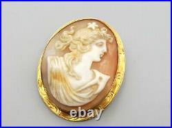 Antique 10K Gold Ornate Carved Shell Cameo Brooch Pendant Pin Victorian Relief