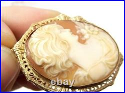 Antique 10K Gold Ornate Carved Shell Cameo Pendant Victorian Relief Filigree