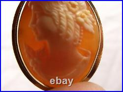 Antique 14K Gold Carved Shell Cameo Brooch Pendant Detailed Lady Pin Estate Vtg