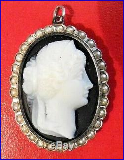 Antique 14K Gold Seed Pearl Onyx HARDSTONE Finely Carved CAMEO Pendant Classical