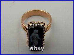 Antique 14K Rose Gold Carved Agate Cameo Ring Sz 4.75 Greek Woman Figure Roman