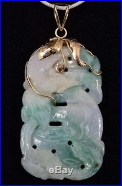 Antique 14K Yellow Gold & Double-Sided Finely-Carved Jadeite Dragon Pendant