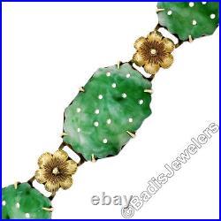 Antique 14K Yellow Gold Pierced Carved Jade w Hand Engraved Flower Link Bracelet