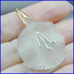 Antique 14k Carved Rock Crystal Diamond Flower Pendant ESTATE