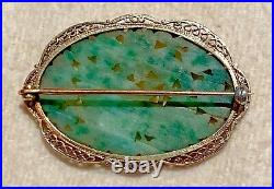 Antique 14k Gold Finely Carved Jade Bird Lotus Deco Chinese Pin Brooch