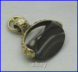Antique 15ct Gold And Agate Carved Intaglio Seal Spinner Fob