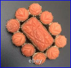 Antique 1800s Georgian Memento Mourning Carved Coral Brooch Pin Hair Locket