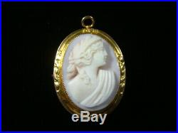 Antique 18KT Gold Finely Carved Pink Shell Cameo Brooch Pin Nice