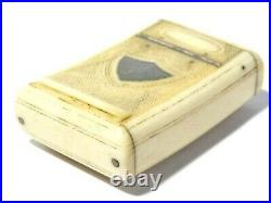 Antique 19thC Snuff Box Hinged Lid, Fine Cross Carving & Silver Shield Cartouche