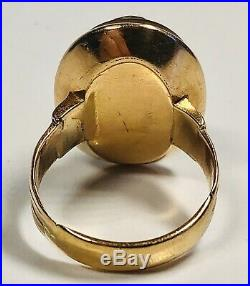 Antique 19th Century 14K Yellow Gold Finely Carved Stone Cameo Men's Ring Size 8