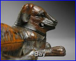 Antique 19th century fine quality Black Forest carved dog inkwell